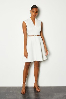 Karen Millen Belted V Neck A Line Dress