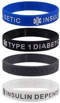 "Max Petals ""TYPE 1 DIABETIC INSULIN DEPENDENT"" Medical Alert ID Silicone Bracelet Wristbands 4 Pack"