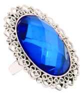 Silver Filigree Oval Blue Gem Cocktail Ring