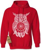 Expression Tees Hoodie White Owl Dreamcatcher Adult