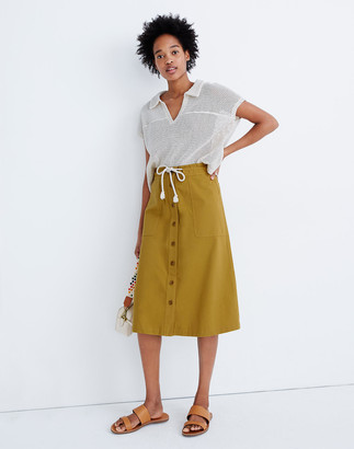 Madewell Tie-Waist Utility Midi Skirt