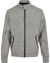 River Island MensGrey check funnel neck harrington jacket
