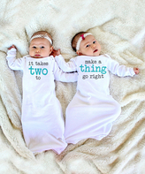White 'It Takes Two' Gown Set - Infant