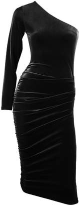 Me&Thee Call It A Night Black One Sleeved Velvet Dress