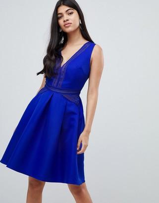 Little Mistress full prom mini skater dress in cobalt-Blue
