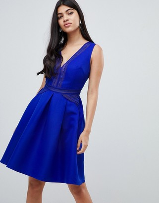 Little Mistress full prom mini skater dress in cobalt