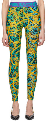 Versace Green and Gold Leopard Print Baroque Leggings