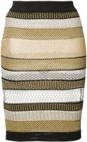Balmain striped skirt - women - Polyester/Viscose/Metallized Polyester - 36