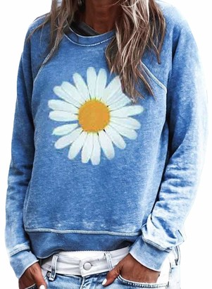 FIYOTE Womens Casual Long Sleeve T Shirt Daisy Printed Tunic Pullover Sweatshirt Tops Jumper Plus Size