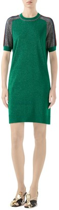 Gucci Fine Wool Short-Sleeve Dress with Contrast Stripe