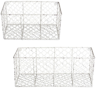 Design Imports Asst Antique White Chicken White Wall Mount Basket, Set Of 2