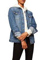 Miss Selfridge Denim Longline Jacket, Mid Wash Denim