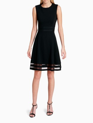 Calvin Klein Solid Illusion Sleeveless Fit + Flare Dress