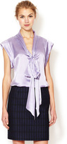 Tracy Reese Silk Satin Tie Neck Top