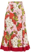 Dolce & Gabbana Geranium-print Silk-blend Charmeuse Midi Skirt - Womens - Red Print
