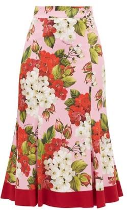 Dolce & Gabbana Geranium-print Silk-blend Charmeuse Midi Skirt - Red Print
