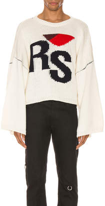 Raf Simons Cropped Oversized RS Sweater in Off White | FWRD