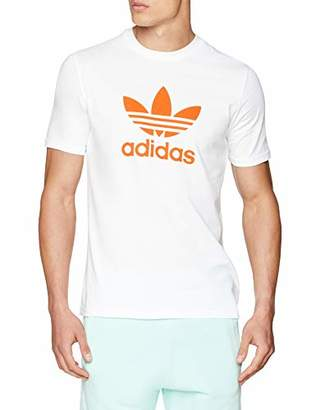 adidas Men's Trefoil T-Shirt Kniited Tank Top, White/Craft Orange