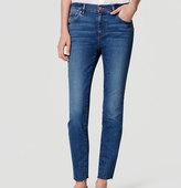 LOFT Modern Frayed Skinny Ankle Jeans in Medium Enzyme Wash