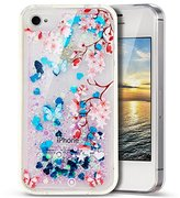 iPhone 4S Case,PHEZEN 3D Creative Luxury Bling Glitter Liquid Case Infused with Glitter Blue Heart Moving Shock Absorption Soft TPU Bumper PC Back Hybrid Case For iPhone 4/4S, Pink Flower