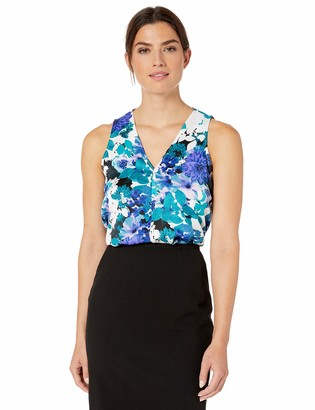 Calvin Klein Women's V Neck Floral Sleeveless Top
