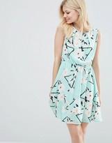 Iska Skater Dress In Flower & Bird Print