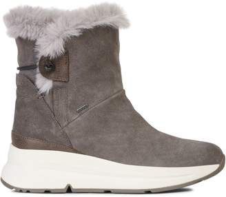 Geox Amphibiox Backsie Faux Fur-Lined Leather Suede Sneaker Boots
