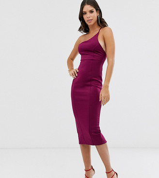 Asos DESIGN Tall one shoulder strappy back bodycon midi dress
