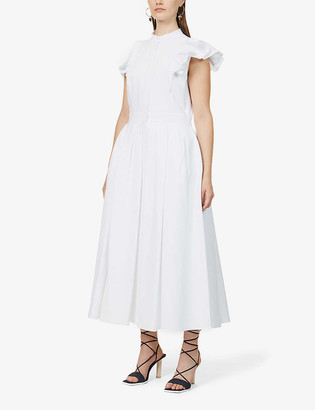 Alexander McQueen Frilled-sleeve cotton midi dress