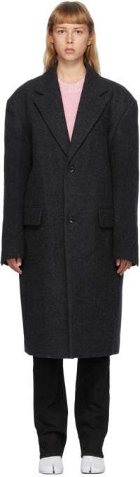 we11done Grey Wool Two-Button Coat