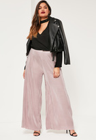 Missguided Plus Size Nude Pleated Wide Leg Fluted Hem Trousers