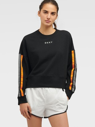 DKNY Unisex Long Sleeve Tee With Reflective Taping - Black - Size S