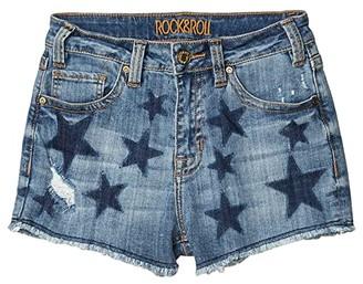 Rock and Roll Cowgirl High-Rise Shorts Printed Navy Stars in Medium Wash 68H5290 (Medium Wash) Women's Shorts