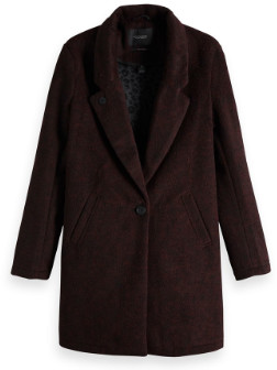 Maison Scotch Bonded Wool Coat in Burgundy - L - Red