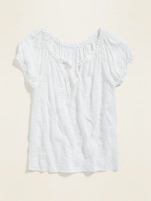 Old Navy Tie-Neck Eyelet Puff-Sleeve Blouse for Women