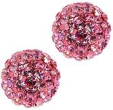Gem Stone King 12mm Round Pave Crystal Disco Ball Stud Earrings