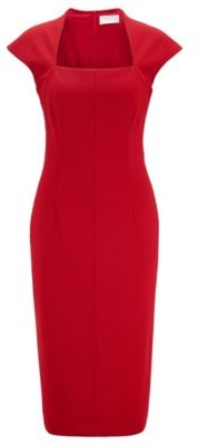 HUGO BOSS Cap Sleeve Dress In Stretch Jersey With Houndstooth Pattern - Red