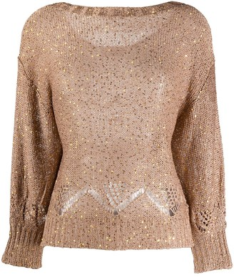 Snobby Sheep Sequin-Embellished Boat Neck Sweater