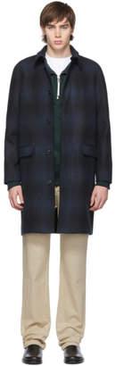 A.P.C. Navy Check Mac Mills Coat