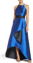Badgley Mischka Women's Ruffle Two-Tone Ballgown