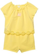 Chloé Yellow Jersey Playsuit with Tiered Scallop Front