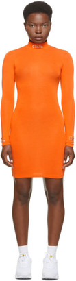 Heron Preston Orange Style Turtleneck Short Dress