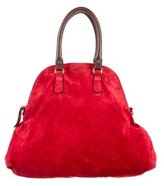 Marni Leather-Trimmed Suede Satchel