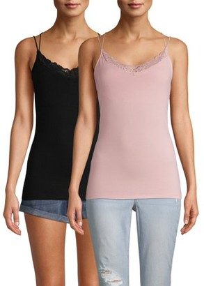 No Boundaries Juniors' Lace Trim Cami, 2 Pack