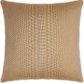"""Square Feathers D'Or Metallic Pillow, 20""""Sq."""