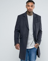 Asos Wool Mix Overcoat In Charcoal Marl