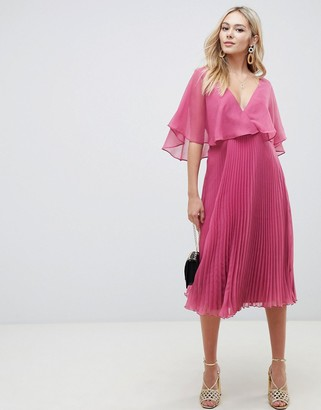 Asos Design DESIGN flutter sleeve midi dress with pleat skirt-Pink