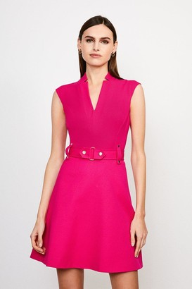 Karen Millen Forever Cinch Waist Cap Sleeve A-Line Dress