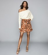 Reiss Abigail - Printed Mini Skirt in Rust