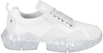 Jimmy Choo White Leather Diamond Sneakers